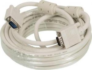 Кабель VGA BURO CAB016S-10М, VGA(m)-VGA (m), ферритовый фильтр, 10м, серый