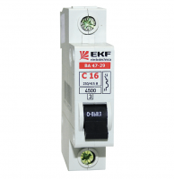 Выключатель автоматический однополюсный 16А ВА 47-29 1P 4,5kA  EKF Basic